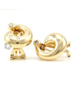 14kt Yellow Gold and Diamond Lady's Earrings, Pair  - 8.2 grams - EST1213