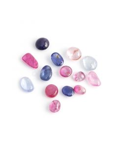 14 Pcs - Medium Tones No Heat Multi-Sapphire (Ceylon) Tumbled Cabochons - 26.75 cts. - 7 x 5.3 mm to 9.3 x 8 mm (MSFF1016)
