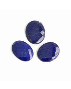 3 Pcs - Blue Lapis Lazuli Rose Cut - 124.85 ct. - 31 x 25 x 6 mm to 33 x 26 x 6 mm (LAPRC1006)