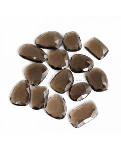 14 Pcs - Dark Brown Smoky Quartz Rose Cut - 264.53 ct. - 23 x 17 x 6 mm to 31 x 18 x 5 mm (SQRC1012)