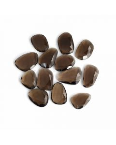 13 Pcs - Dark Brown Smoky Quartz Rose Cut - 174.52 ct. - 21 x 16 x 4.5 mm to 25 x 17 x 5 mm (SQRC1008)