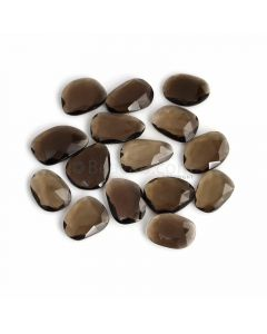 15 Pcs - Dark Brown Smoky Quartz Rose Cut - 124.59 ct. - 17 x 13 x 4 mm to 22 x 14 x 5 mm (SQRC1005)