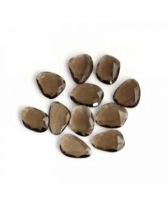 11 Pcs - Dark Brown Smoky Quartz Rose Cut - 104.65 ct. - 20 x 15 x 5 mm to 19 x 15 x 4 mm (SQRC1004)