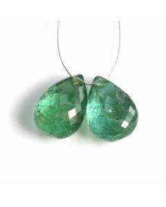 2 Pcs - Medium Green Emerald Drops - 11.7 ct. - 13 x 9.3 mm & 13 x 9.5 mm (EDR1071)
