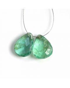2 Pcs - Medium Green Emerald Drops - 5.6 ct. - 11 x 8.8 mm & 11.4 x 8.5 mm (EDR1085)
