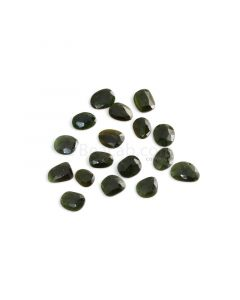 17 Pcs - 29.67 ct. - Green Tourmaline Rose Cut -8.9 x 7.4 x 1.5 mm to 12.8 x 8.9 x 2.1 mm (TRC1081)