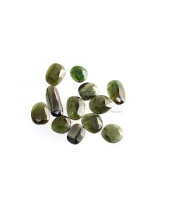 12 Pcs - 23.32 ct. - Green Tourmaline Rose Cut -8.3 x 7.4 x 2.5 mm to 15.1 x 6.5 x 2 mm (TRC1083)