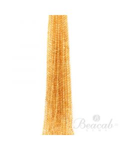 21 Lines of Medium Yellow Citrine Plain Beads - 5 mm - 15 in. (CITSB1029)