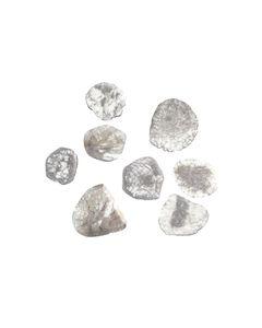 8 Pcs. - 17.02 cts. - Grayish White Diamond Slices - 14.29 x 11.83 x 0.55 mm to 20.77 x 17.80 x 0.84 mm (DS1161)