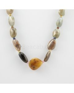 15 to 21 mm - 1 Line - Multi-Sapphire Tumbled Beads Necklace - 399.35 carats (CSNKL1108)