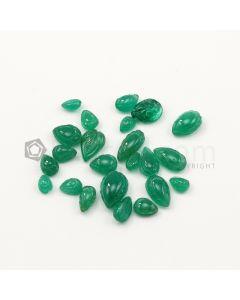 6.50 x 5 mm to 13 x 8.50 mm - Medium Green Emerald Carving - 23 pieces - 33.09 carats (EmCar1073)