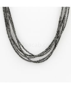 2 to 2.50 mm - Black Diamond Faceted Beads - 5 Lines - 78.50 carats (BDia1023)