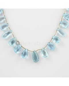 7 to 14.50 mm - Medium Blue Aquamarine Drops - 47.00 carats (AqDr1002)