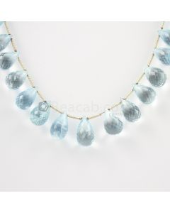 11 to 14 mm - Medium Blue Aquamarine Drops - 105.00 carats (AqDr1005)