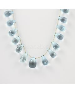 10 to 12.50 mm - Medium Blue Aquamarine Drops - 98.50 carats (AqDr1008)