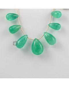 13 to 19 mm - Medium Green Emerald Drops - 65.00 carats (EDr1015)