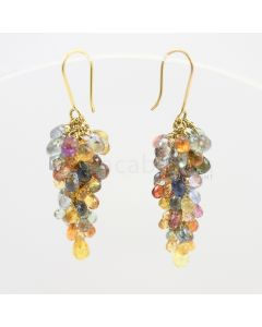 3.50 to 4 mm - Multi-Sapphire Drop Earrings - 50.00 carats (CSEarr1003)