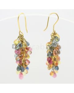 3 to 4 mm - Multi-Sapphire Drop Earrings - 34.50 carats (CSEarr1009)