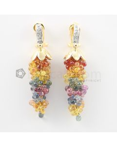 3 mm - Multi-Sapphire Drop Earrings - 75.50 carats (CSEarr1030)