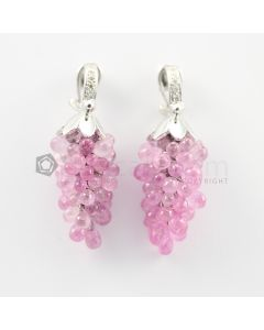 3 to 4 mm - Pink Sapphire Drop Earrings - 94.00 carats (CSEarr1035)