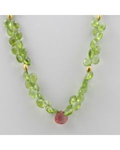 Peridot Faceted Drops - 1 Line - 168.00 carats - 16 inches - (CSNKL1030)