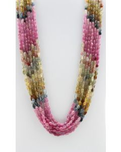Multi-Sapphire Tumbled Beads - 7 Lines - 636.00 carats - 18 to 21 inches - (MSTuB1035)
