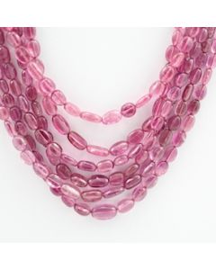 Pink Tourmaline Long Tumbled Beads - 6 Lines - 240.45 carats - 14 to 18 inches - (ToTub1004)
