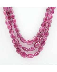Pink Tourmaline Long Tumbled Beads - 3 Lines - 167.02 carats - 17 to 18.50 inches - (ToTub1005)