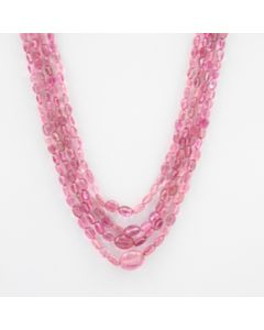 Pink Tourmaline Long Tumbled Beads - 4 Lines - 161.10 carats - 16 to 18 inches - (ToTub1009)