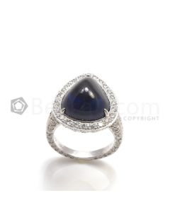 Pear Shape Blue Sapphire Ring in 18kt White Gold - 12.3 grams - EST1217