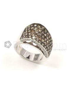 Round Shape Brown/White Diamond Ring in 18kt White Gold - 17.9 grams - EST1237