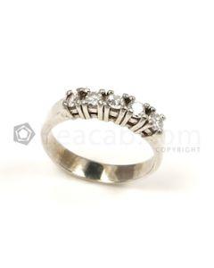 Round Shape White Diamond Ring in 14kt White Gold - 5.1 grams - EST1271