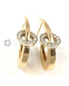 Moon Shape White Diamond Earrings in 14kt Yellow Gold - 7.9 grams - EST1339