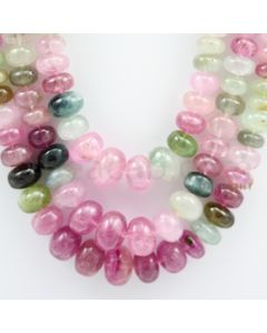 Multi-Tourmaline Roundel Beads - 3 Lines - 864.80 carats - 19 to 21 inches - (MTour1002)