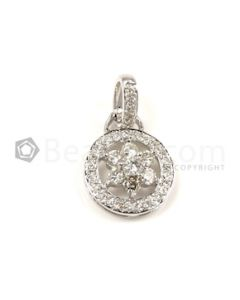 Circle Shape White Diamond Pendant in 18kt White Gold - 2.8 grams - EST1344