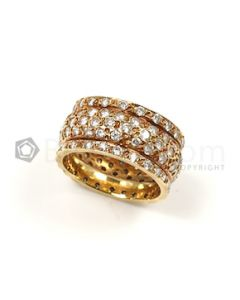 Round Shape White Diamond Ring in 18kt Yellow Gold - 7.1 grams - EST1346