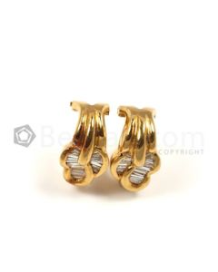 Baguettes Shape White Diamond Earrings in 18kt Yellow Gold - 9 grams - EST1361