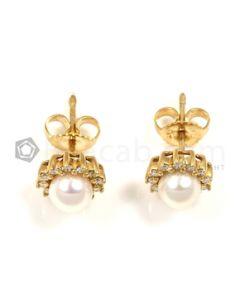 Round Shape White Diamond, Pearl Earrings in 14kt Yellow Gold - 3.2 grams - EST1364