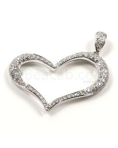 Heart Shape White Diamond Pendant in 18kt White Gold - 12.4 grams - EST1382