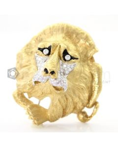 18kt Yellow Gold and Diamond Lion Brooch - EST1401