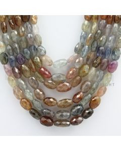 Multi-Sapphire Faceted Long Beads - 6 Lines - 694.92 carats - 15 to 19 inches - (MSFLB1006)