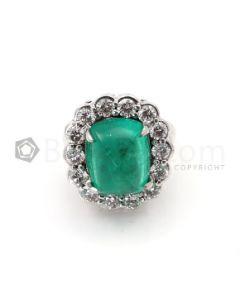 Sugarloaf Emerald Cabochon & Diamond Ring in 18kt White Gold - EST1425