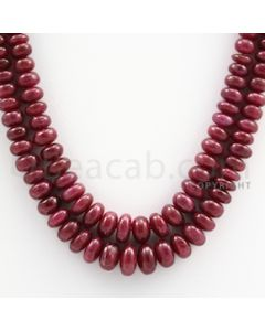 Ruby Roundel Beads - 2 Lines - 370.00 carats - 15.50 to 16.50 inches - (RuRoB1019)