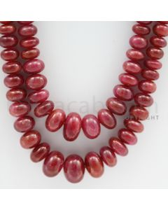 Ruby Roundel Beads - 2 Lines - 665.00 carats - 24 to 26 inches - (RuRoB1021)