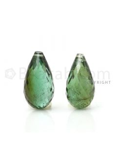2 pcs - Medium Green - Tourmaline Faceted Drops (AAA) - 11.28 cts. (TFD1037)