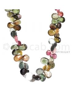 7 Lines of Medium Tones Tourmaline Faceted Drops - 1194.00 cts - 5.8 x 3.8 mm to 13.40 x 10.20 mm (TFD1167)