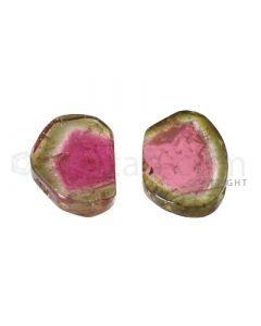2 pcs - Watermelon (Bi-Color) Tourmaline Slices - 20.00 cts - 18.9 x 13.9 x 3.2 mm (TOUSL1048)