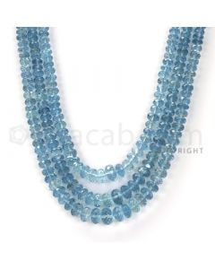 3 Lines - Blue Faceted Aquamarine Beads - 306 cts - 3.7 x 7.7 mm to 3.7 x 7.8 mm (AQFB1012)