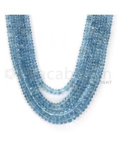 5 Lines - Blue Faceted Aquamarine Beads - 449.2 cts - 3.3. x 6.3 mm to 3.5 x 7.2 mm (AQFB1013)