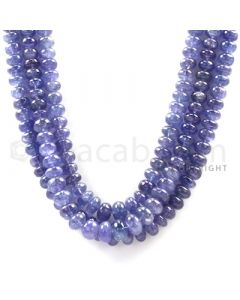 3 Lines - Violet Tanzanite Smooth Beads - 490.32 cts - 5.1 to 9.3 mm (TZSB1003)